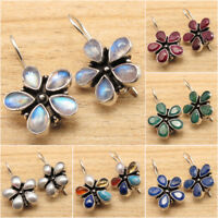 925 Silver Plated MOONSTONE & Other Jewels Variation Multistone FLOWER Earrings