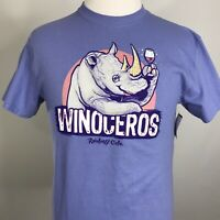 "NWT RAINFOREST CAFE ""WINOCEROS' CARTOON FUNNY LAVENDER T SHIRT SIZE M"