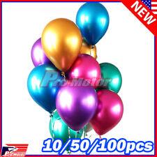 Bulk Lot Metallic Balloons Metal Chrome Shiny Latex Happy Birthday Wedding Party