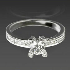 DIAMOND RING SOLITAIRE ACCENTED ANNIVERSARY 14 KARAT WHITE GOLD LADY COLORLESS