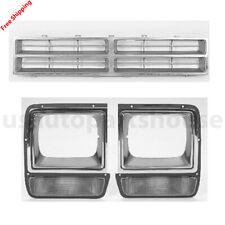 New For 86-90 DODGE D150 PICKUP/RAMCHARGER Chrome Grille/Arg Headlight Door 3PCS