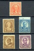 SCOTT # 633 , 635-637 & 641 - SET OF FIVE CLASSIC OLD STAMPS - UNUSED - OG - MNH