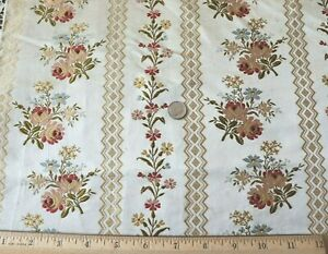 """Antique French 19thC Silk Floral Brocade Fabric Panel c1870~L-54""""X W-21"""""""