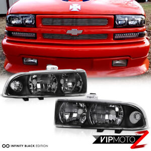 Black LH+RH Diamond Headlight Corner Signal Lamp Assembly Chevy 98-04 Blazer S10
