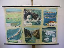 NICE Old School Wall Map Seas coastal Islands atolls 119x82cm Vintage Map ~ 1963