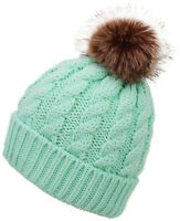 Winter Warm Women Faux Fur Pom Cuff Beanie Hat Soft Cable Knit Winter Skull Cap