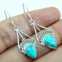 """925 Sterling Silver Natural Turquiose Dangle Earrings Jewelry S 1.5"""""""