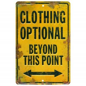 """Embossed Sign ~CLOTHING OPTIONAL BEYOND THIS POINT~ 8"""" x 12"""" BEACH BAR"""