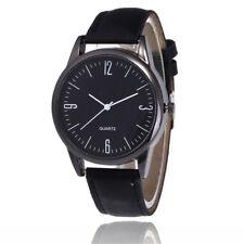 Couple Fashion Leather Band Analog Quartz Round Wrist Business Men's Watch