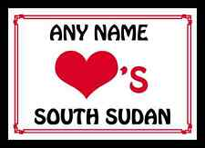 Love Heart South Sudan Personalised Placemat