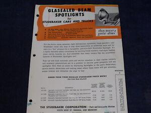 Original 1950 Dealership Brochure ~ Studebaker Glasealed Beam Spotlights