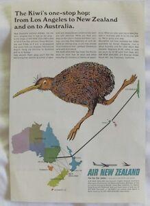 1967 Air New Zealand Vintage Print Ad, Los Angeles to New Zealand & Australia