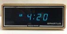 "Vintage Spartus ""Galaxy"" Alarm Clock Blue Aqua LED Retro Old School Tested"