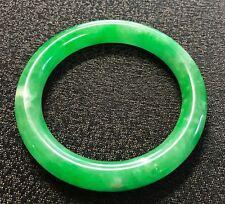 Stunning Chinese Carved Jade Jadeite Apple Green Bangle Bracelet