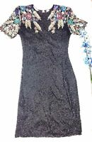 Vintage Multicolor Laurence Kazar Sequined Dress Small Formal Cocktail