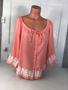 TALBOTS Linen Embroidered Shirt Womens Medium