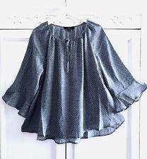 1X Peasant BOHO Polka Dot Tunic Top Blouse Bell Sleeves Denim Blue FLOWY 18/20