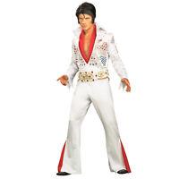 Mens Deluxe 70s ELVIS Presley Cosplay Costume Rhinestone Jumpsuit Belt Scarf