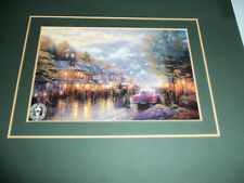 THOMAS KINKADES MAIN STREET LITHOGRAPH 5 X 7 MATTED READY TO FRAME