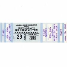 THE GREAT GUITARS Concert Ticket Stub AUSTIN 1/29/80 CHARLIE BYRD MARTIN TAYLOR