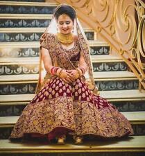 Bollywood Pesado Lengha Ropa de Fiesta Boda India Pakistaní Vestido Lehenga