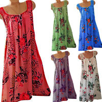 Summer Women Boho Mini Sleeveless Dress Ladies Beach Baggy Tunic Dress Plus Size