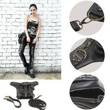 UK Men Women Leather Steampunk Belt Bag Waist Leg Hip Holster Cyber Punk Bag