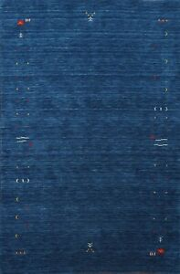 Bordered NAVY BLUE Gabbeh Oriental Area Rug Contemporary Hand-knotted Wool 5'x7'