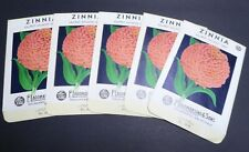 5 LOT OF VINTAGE SEED PACKETS FLOWERS C1930S SACRAMENTO ALL SAME SALMON ZINNIA