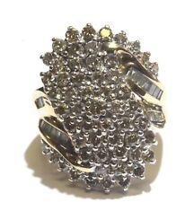 14k yellow gold 2.78ct SI1 Top Light Brown diamond cluster ring 9.2g estate