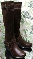 CLARKS BROWN LEATHER KNEE HIGH FASHION DRESS BOOTS SHOES HEELS US WOMENS SZ 6 M