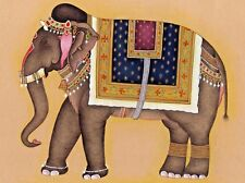 Wall Decorated Elephant Painting For Diwali Gift Handmade Miniature Art On Paper
