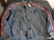 LEVI'S Men's Premium 59446 Striped Sleeve Logo TRUCKER Jacket NEW Large HIPSTER