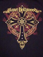 Planet Hollywod New York NY Vacation Souvenir Black Cross Print T Shirt L