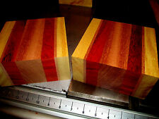 TWO YELLOWHEART, PADAUK, MAHOGANY, JATOBA LAMINATED BOWL BLANKS LUMBER 6 X 6 X 3