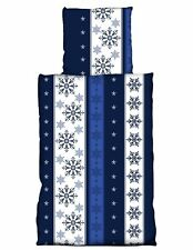 4 tlg Flausch Bettwäsche 135 x 200 cm Eiskristall blau Thermofleece