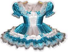 """Natalie"" Custom Fit Aqua & White SATIN Adult LG Baby Sissy Dress LEANNE"