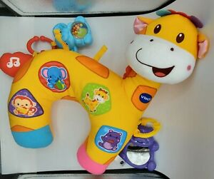 Tummy Time Discovery Pillow giraffe infant toddler sound touch bear blue yellow
