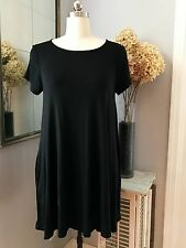 Black Short Dress or Long Tunic Top Large Pockets Jersey Knit 42 Pops Swing