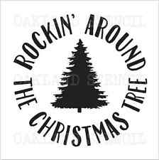 Christmas Tree STENCIL**Rockin Around**12x12 for Signs Wood Pallet Canvas Fabric