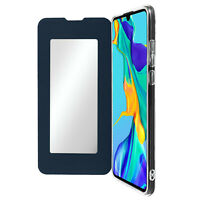 Flip Folio Case with Mirror for Huawei P30 Thin and Light, Dark Blue