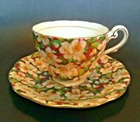 Royal Standard Cup and Saucer - Peach Tree - Red Green & White Chintz - England