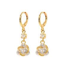 NEW Women Fashion White Cubic Zirconia Stones Knot CZ Drop Earrings Jewelry
