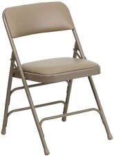 Flash Furniture HERCULES Series Curved Beige Vinyl Folding Chair New