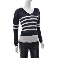 Mango Basics Womens V-Neck Long Sleeve Relaxed Pullover Top 100% Linen Striped M