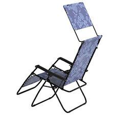 Bliss Hammocks 33 Inch Reclining Zero Gravity Chair with Canopy, Blue Flowers