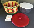 """LONGABERGER 2007 RED & GREEN WELCOME HOME BEE AMERICAN CRAFT 8"""" WORK BASKET SET"""