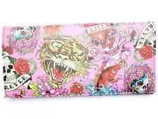 Pink Tiger Skull Heart Tattoo Rockabilly Ladies ID Card Holder Clutch Purse Gift