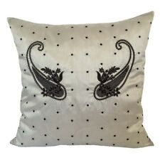 Satin Black/Silver Paisley Embriodery 18x18 Mint Throw Pillow Case/Cushion Cover