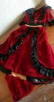 ANTIQUE RED VELVET AND BLACK LACE DOLL DRESS WITH SMALL TRAIN top skirt
